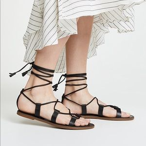 Madewell Black Boardwalk Lace Up Sandals